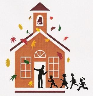 """Das Logo vom """"Lebendigen Adventskalender"""" - eine Kirche mit Kindern, die hereinlaufen."""
