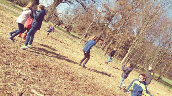 Kinder rennen auf einer Wiese umher.