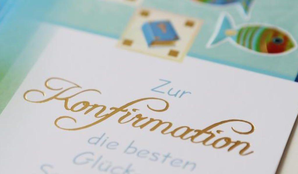 """Glückwünschkarte zur Konfirmation mit dem Text """"Zur Konfirmation die besten Glück- und Segenswünsche"""""""